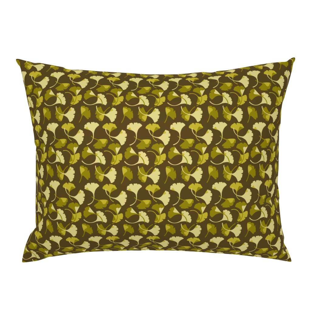 Campine Pillow Sham featuring Ginkgo, Brown by cindylindgren