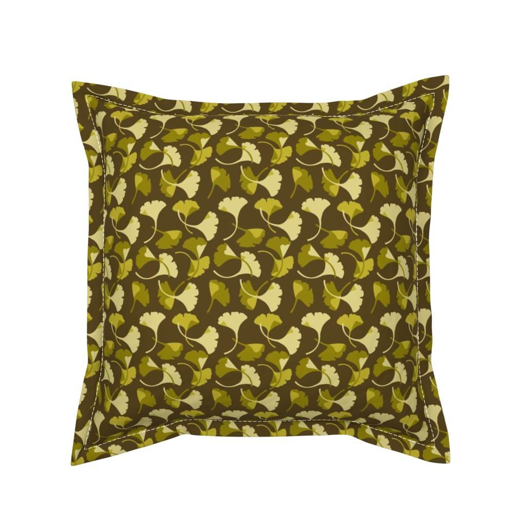 Serama Throw Pillow featuring Ginkgo, Brown by cindylindgren