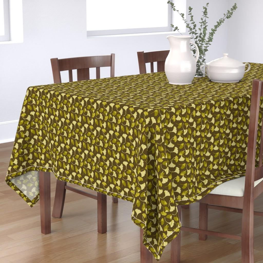 Bantam Rectangular Tablecloth featuring Ginkgo, Brown by cindylindgren