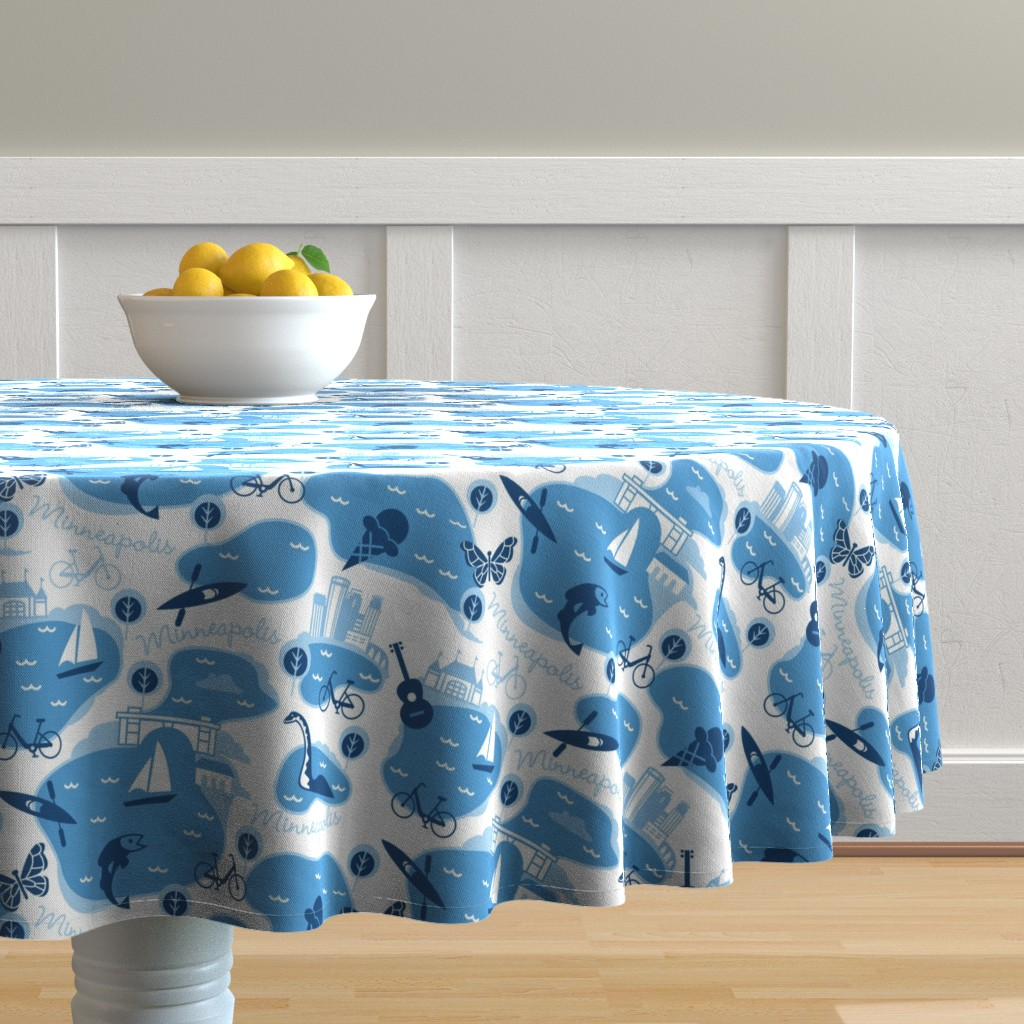 Malay Round Tablecloth featuring Minneapolis Summer, blue by cindylindgren