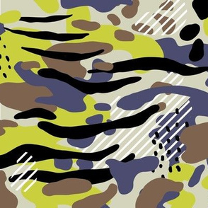 Modern camouflage with stripes,  green camo