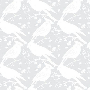 Monochrome Art Deco  Birds || Diamond  Low volume feather Gray grey White_Miss Chiff Designs