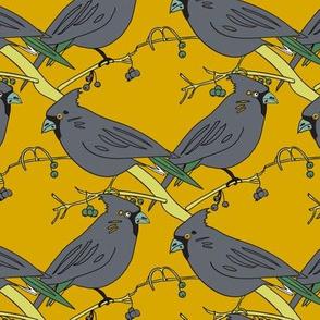 Gray grey Bird mustard yellow sage green || Diamond Lattice Feather large scale _Miss Chiff Designs