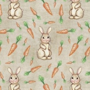 Bunny and Carrot Love on Canvas