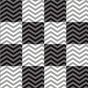 Cheater Quilt | Black and White Star Chevron