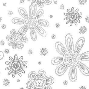 TRIBAL SKETCH FLOWERS DARK GRAY