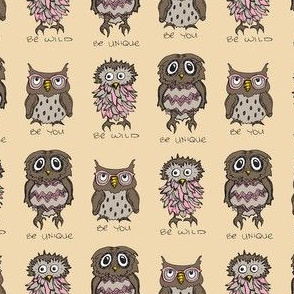 Be You - Owls (Pink Accent)