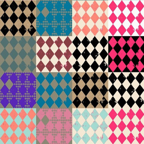 Harlequin Diamonds Cheater Quilt Blocks