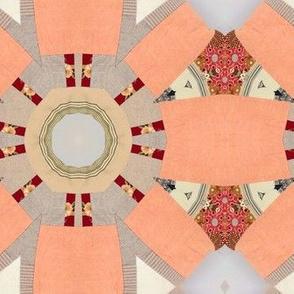 Peach patchwork cheater quilt