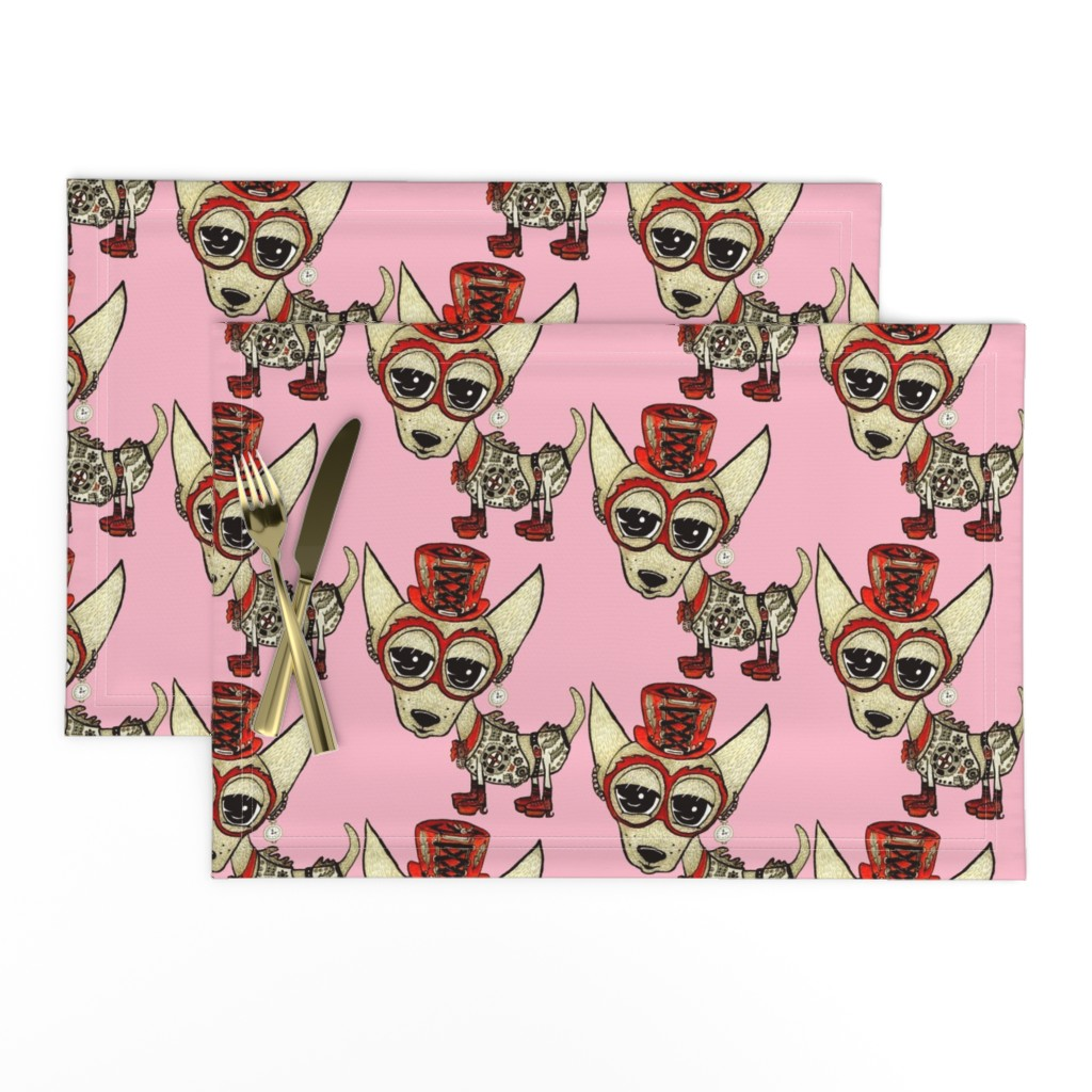 Lamona Cloth Placemats featuring #SFDesignADay Steampunk Chihuahua pink red beige, large scale by amy_g