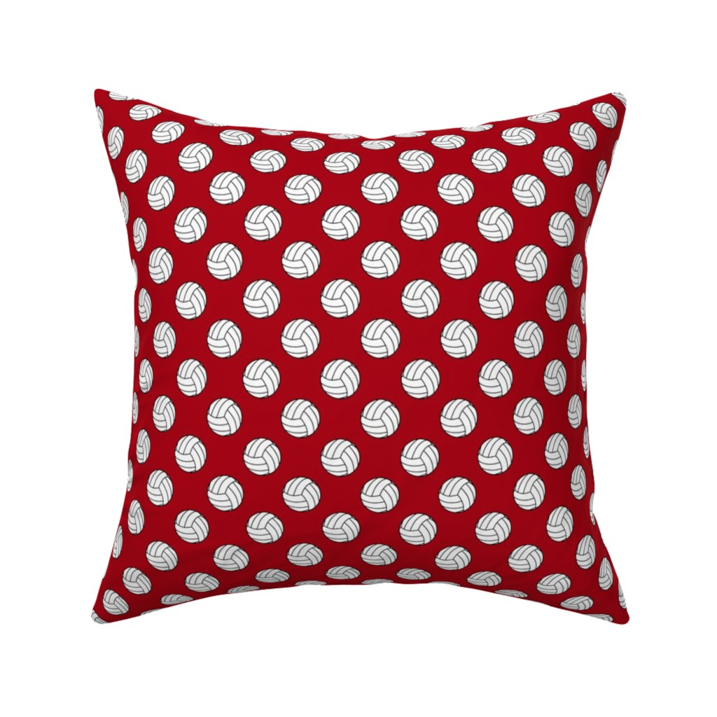 Catalan Throw Pillow featuring One Inch Black and White Volleyball Balls on Dark Red by mtothefifthpower