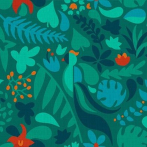 Paradise bird in jungle green