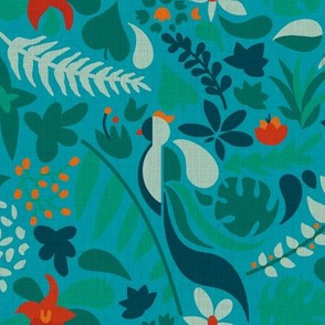 Paradise bird jungle blue