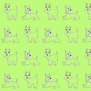Twin green schnauzer Dogs for kids pyjamas and funky dog clothes, and bandanas.