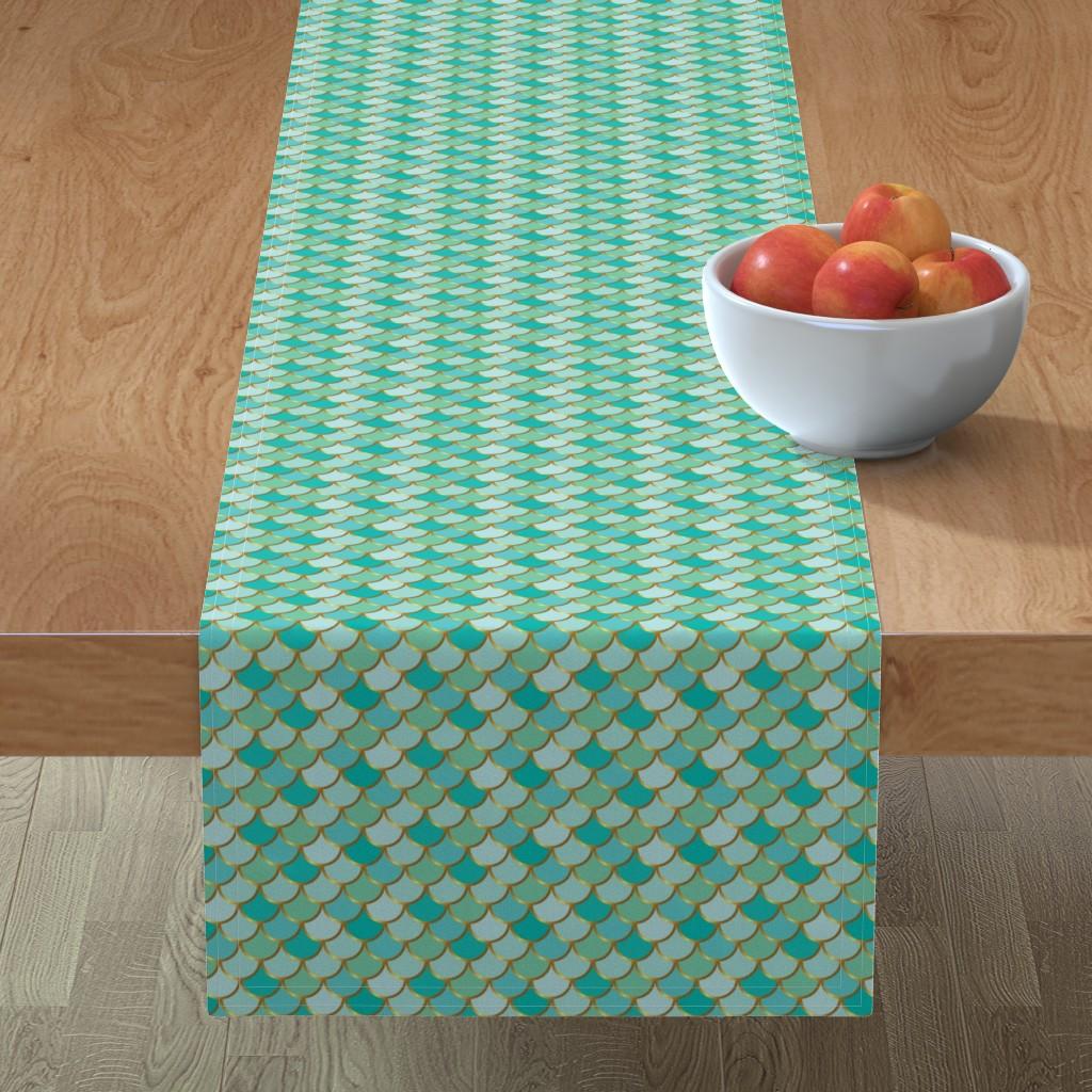 Minorca Table Runner featuring Sea Green Mermaid Tail by katebillingsley