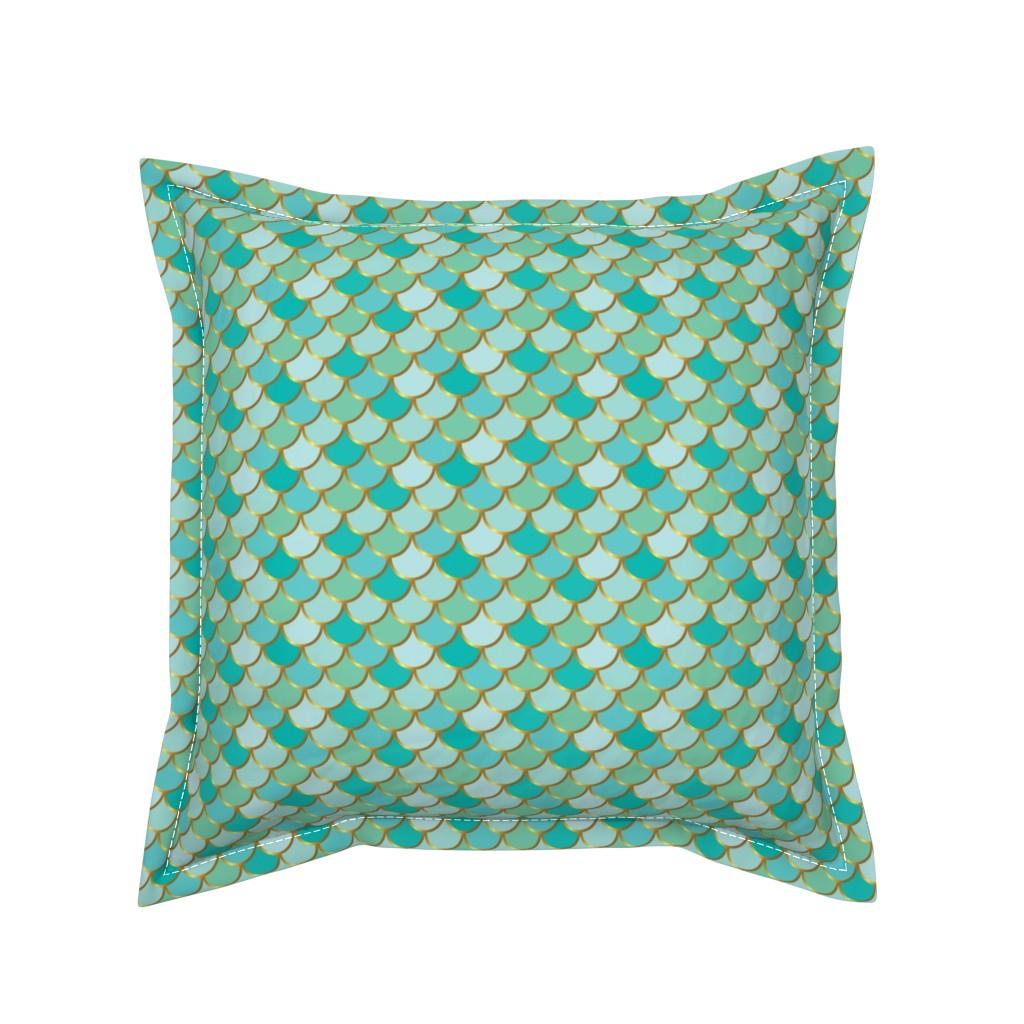 Serama Throw Pillow featuring Sea Green Mermaid Tail by katebillingsley