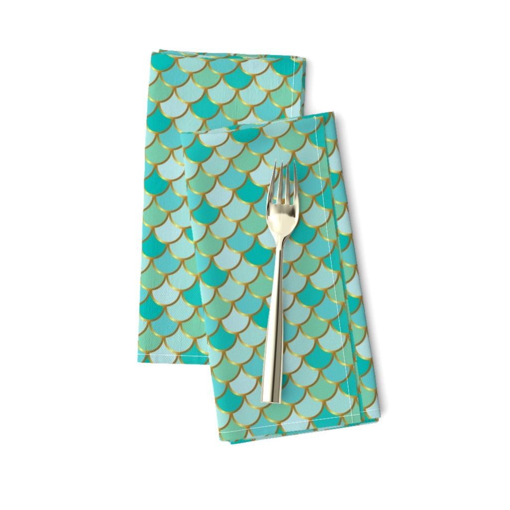 Amarela Dinner Napkins featuring Sea Green Mermaid Tail by katebillingsley