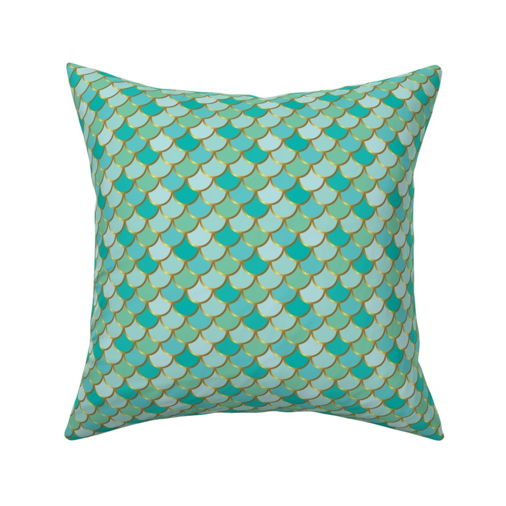 Catalan Throw Pillow featuring Sea Green Mermaid Tail by katebillingsley