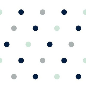 Large Polka Dots // Navy/Mint/Grey