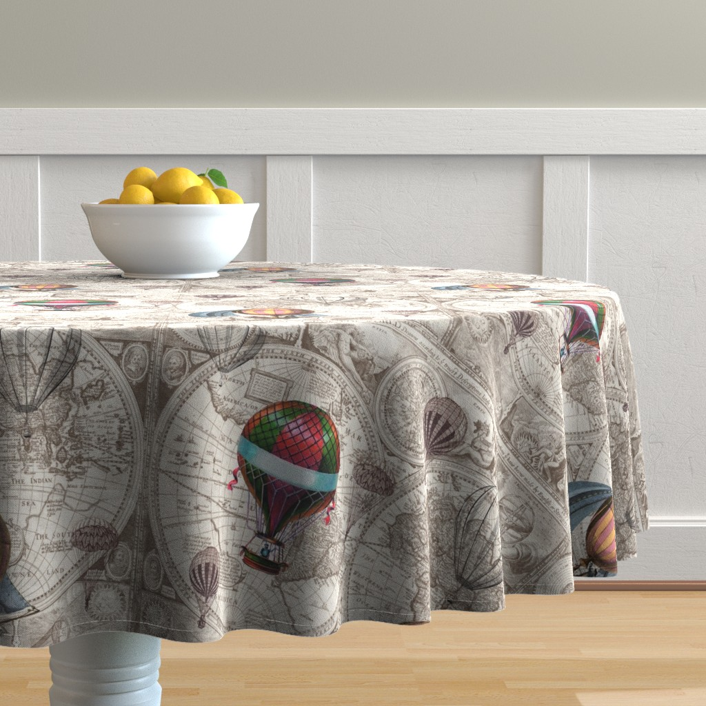 Malay Round Tablecloth featuring Steampunk Map by aftermyart