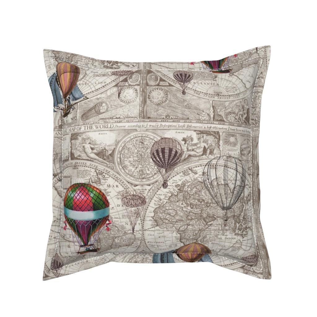 Serama Throw Pillow featuring Steampunk Map by aftermyart
