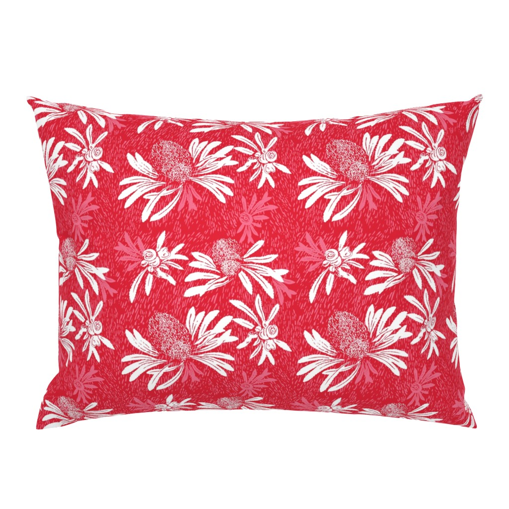 Campine Pillow Sham featuring banksia bark - red/white by cinneworthington