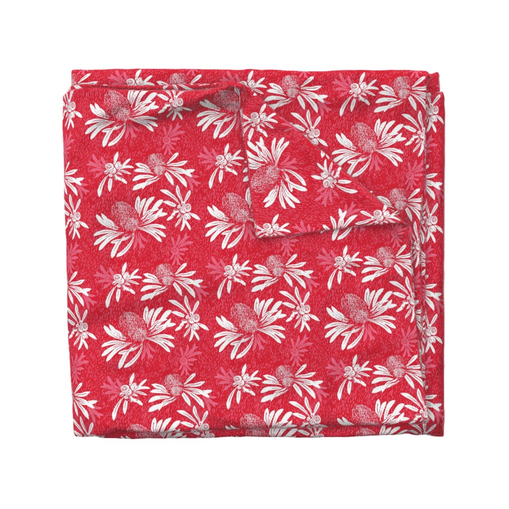 Wyandotte Duvet Cover featuring banksia bark - red/white by cinneworthington
