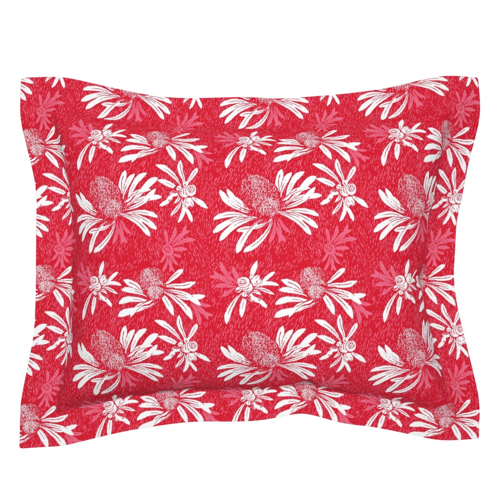 Sebright Pillow Sham featuring banksia bark - red/white by cinneworthington