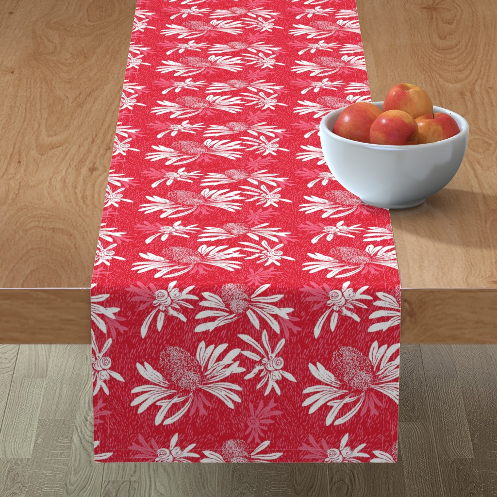 Minorca Table Runner featuring banksia bark - red/white by cinneworthington