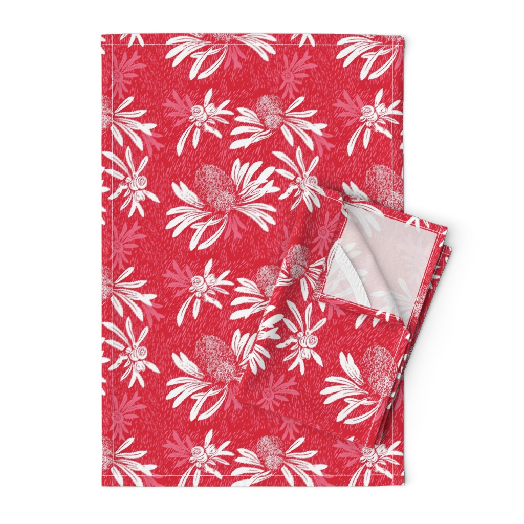 Orpington Tea Towels featuring banksia bark - red/white by cinneworthington