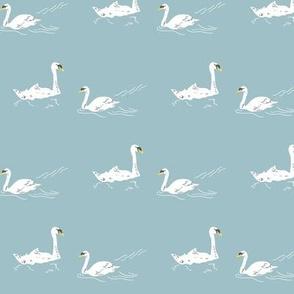 Retro Swan lake - aqua small