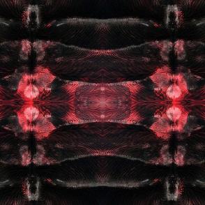 Horizontal Abstract Darkness Inkblot Red Black