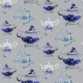 Large English Teapot || Tea england Blue Gray grey White  Food Drink Beverage Coffee _Miss Chiff Designs