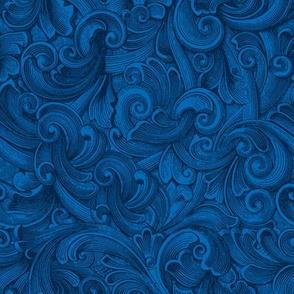 Engraved Swirls 13 Blue Mermaid