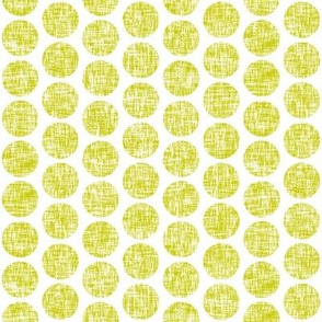 Acid yellow tweedy linen weave polka dots on white by Su_G_©SuSchaefer