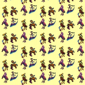 Surreal Cartoon Doodle of 4 bizarre creatures on pale yellow background