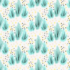 Artistic color brushed green floral