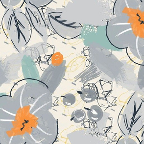 Abstract scribbles with gray flower and berries