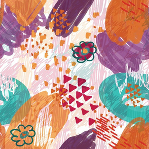 Abstract scribbles purple with flower and triangles