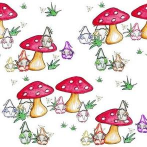 Gnomes, toadstools & daises