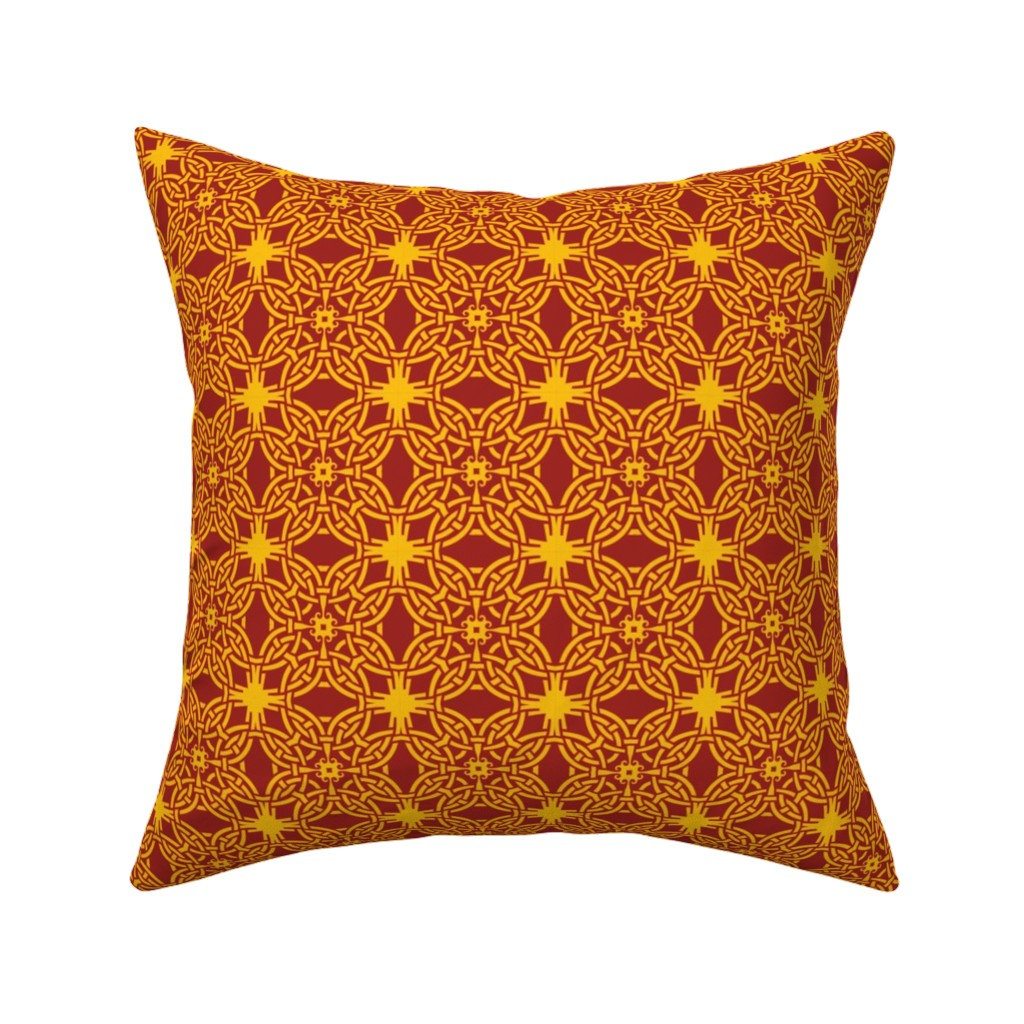 Catalan Throw Pillow featuring Chinese Knot Pattern by bing-bungalow-design-house