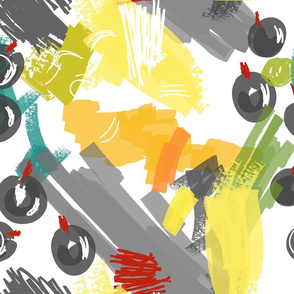 Abstract scribbles gray with berries