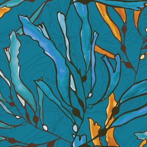 Kelp seaweed blue and yellow watercolor
