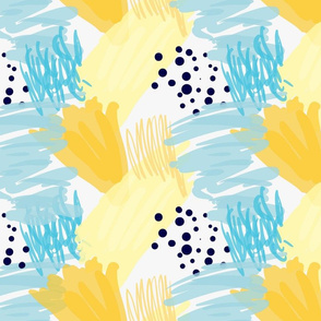 Abstract blue and yellow with black dots