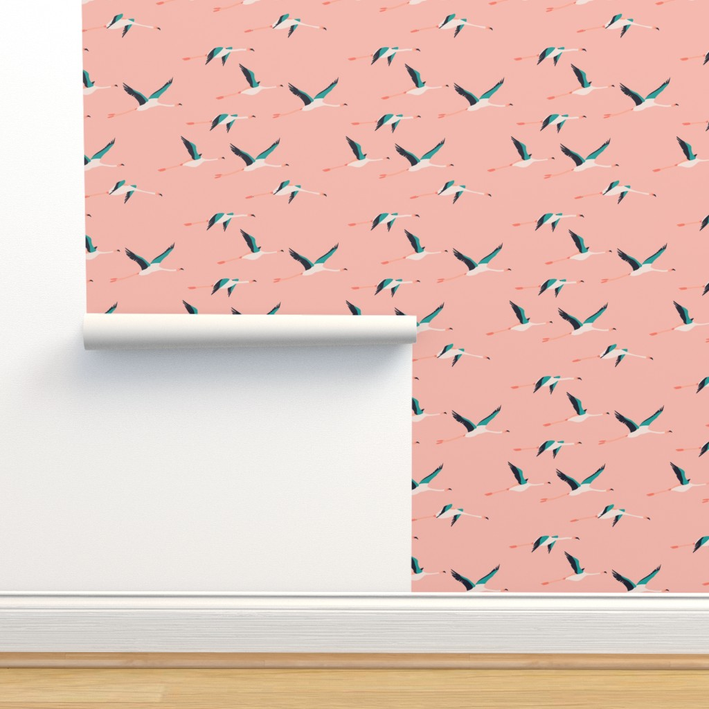 Isobar Durable Wallpaper featuring flamingo_coastal by holli_zollinger