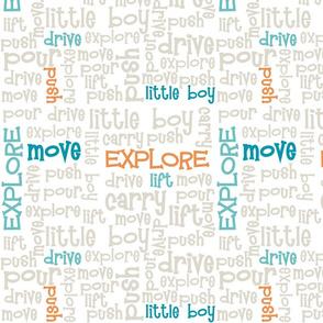 Little Boy Explorer Words - Subway Art