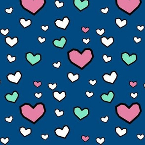 Pink and Mint Hearts on Navy