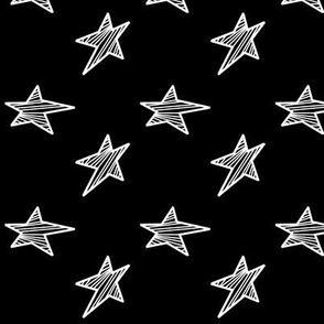 White Stars with Black Background