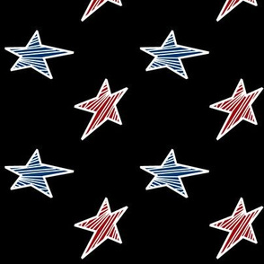 Red and Blue Stars with Black Background