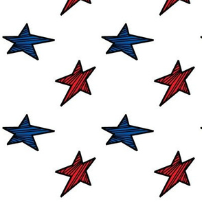 Red and Blue Stars with Black Stripes
